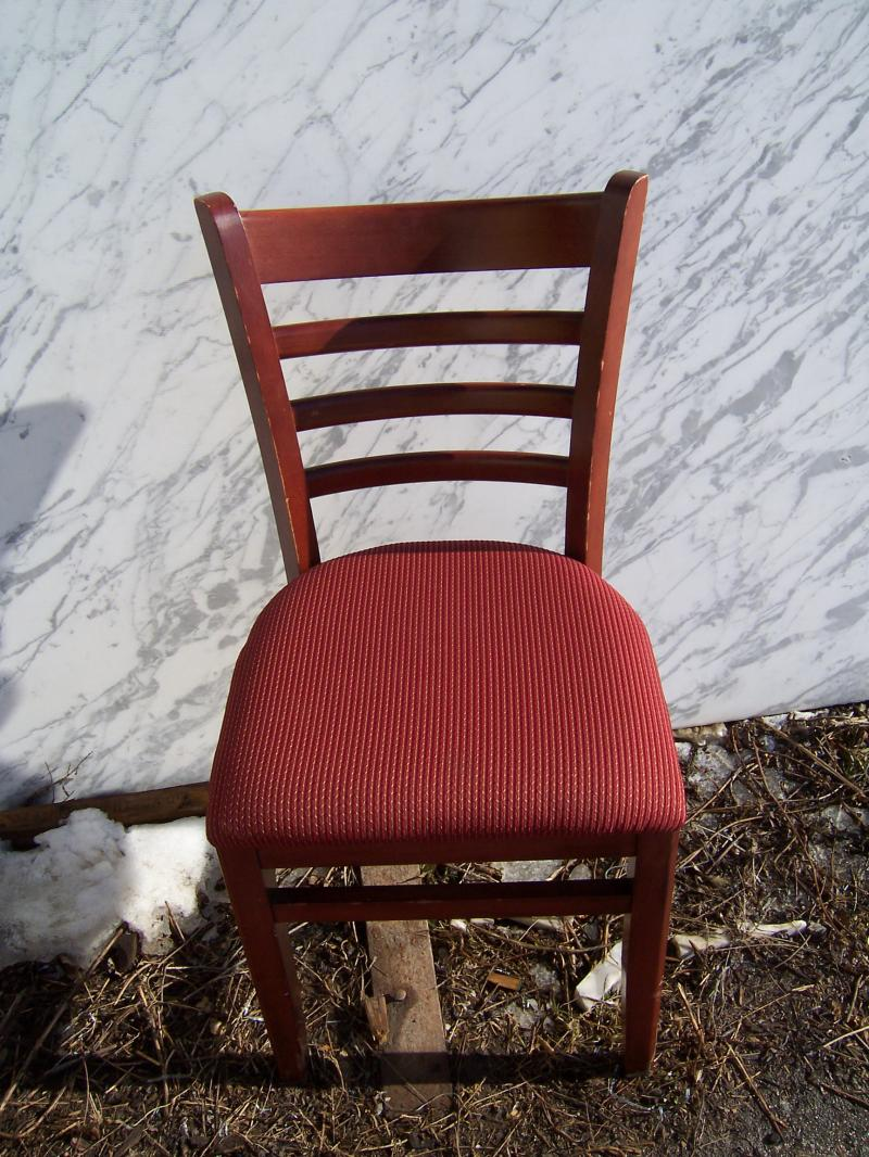 Delicieux 8 USED Cherry Restaurant Chairs W/ Maroon Designed Fabric Seat Covers   $39